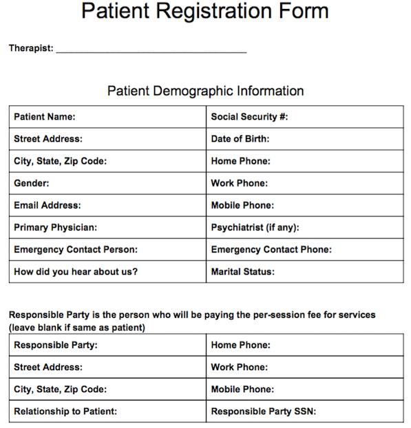 Patient Registration Form | Templates | Pinterest | Notes template ...