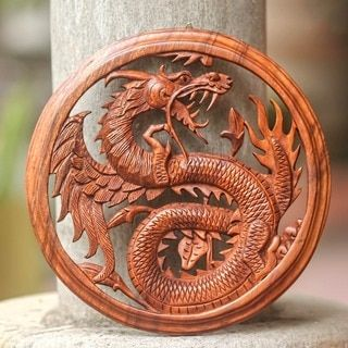 Shop for Dragon With Lotus Bud Artisan Handmade Traditional Art Handcarved Natural Brown Wood Framed Home Decor Wall Panel (Indonesia). Get free delivery at Overstock.com - Your Online Home Decor Destination! Get 5% in rewards with Club O!