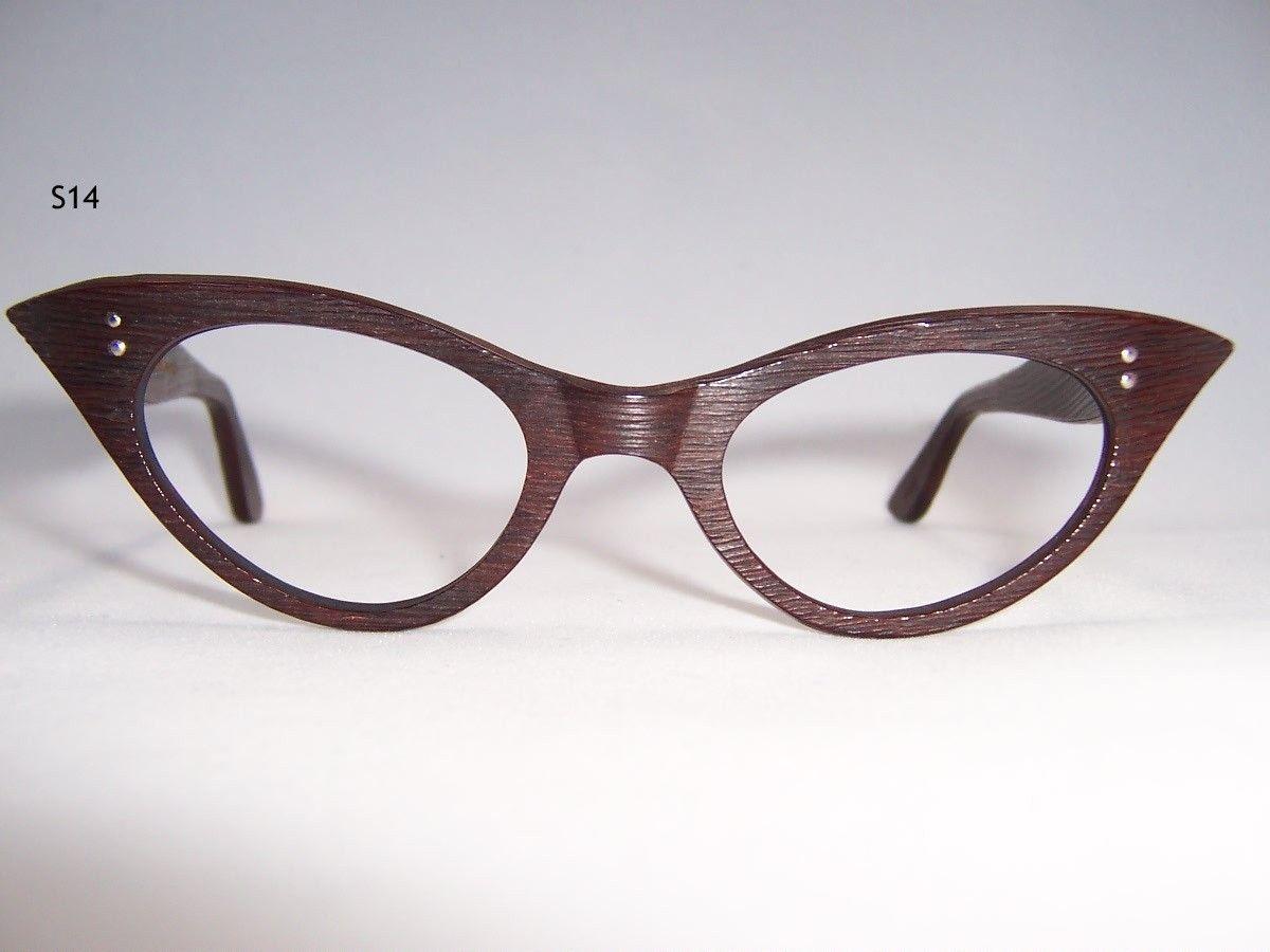 Unusual Wood Effect 1950s Vintage Cat Eye Glasses - Vintage Eyewear ...