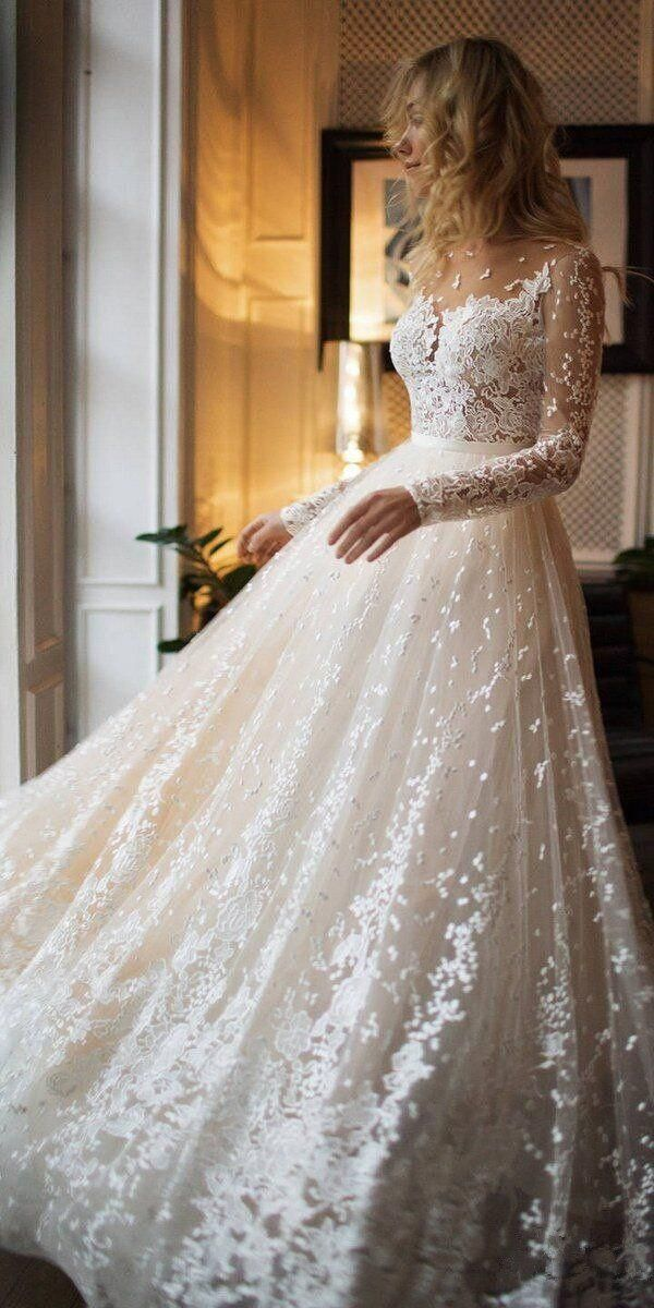 Photo of Tulle Appliques Long Sleeves Backless Bridal Gown