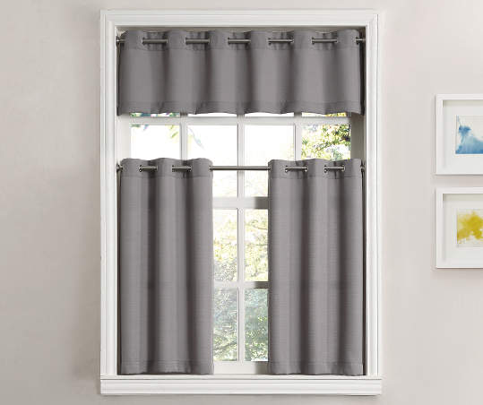 Gray Tucker Tier Valance 3 Piece Set With Images Curtains