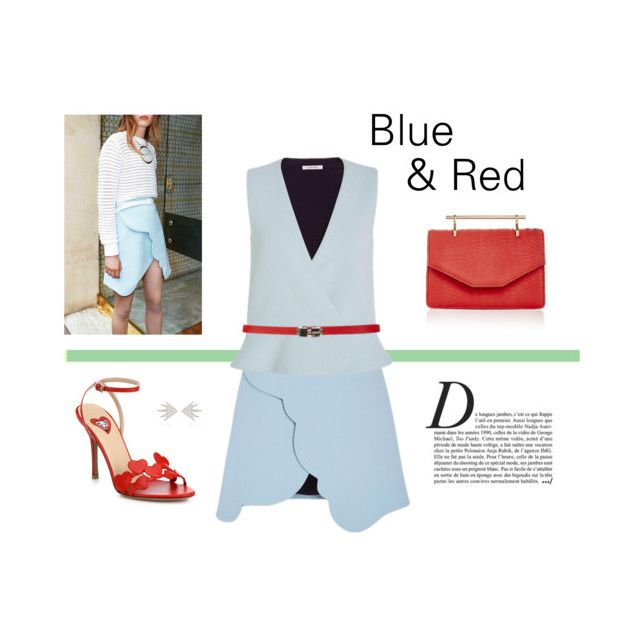 """""""Blue & Red"""" by livnd ❤ liked on Polyvore featuring Valentino, M2Malletier, Azlee, Anja and modern"""