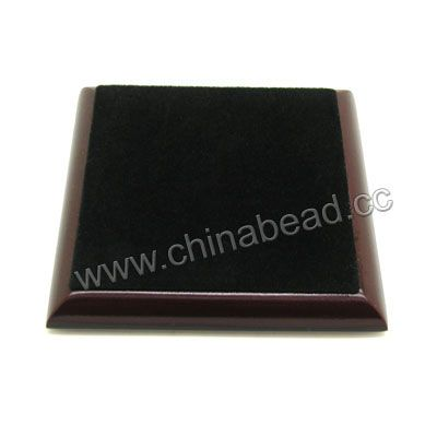 Wooden cabochon display, Dark brown and black color, Square, Approx 100x100x15mm, 10 pieces per bag, Sold by bags