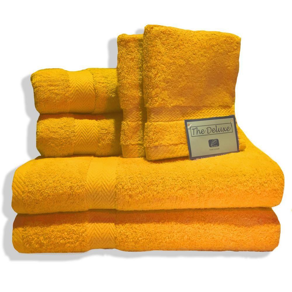 Deluxe 6-Piece Cotton Terry Bath Towel Set in Orange