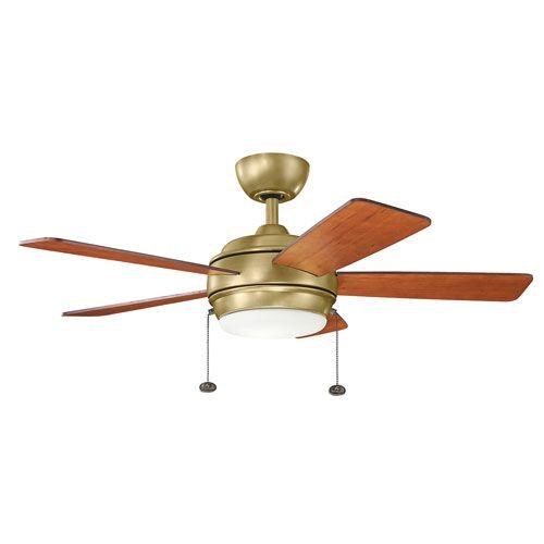 Kichler lighting starkk natural brass led ceiling fan with light at destination lighting