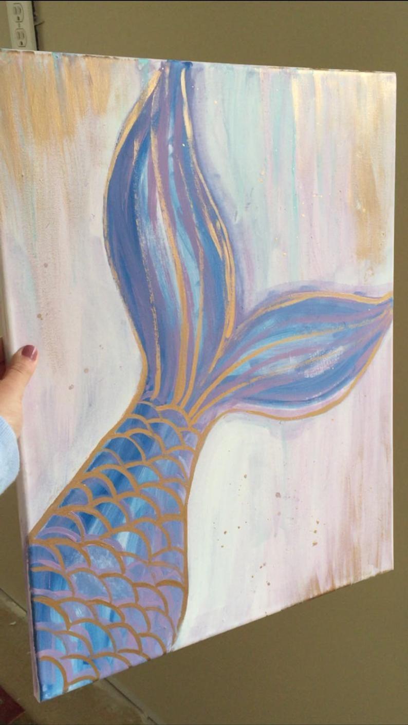 Mermaids Are Real Etsy In 2020 Mermaid Paintings Canvas Simple Canvas Paintings Art Painting