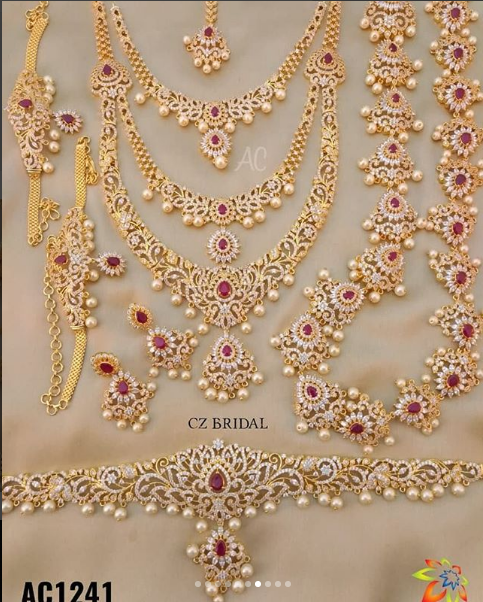 South Indian Gold Plated Cz Necklace Jewelry Set Bridal Earrings Tikka Set Bridesmaid Jewelry Sets Indian Wedding Jewelry Indian Brides Jewelry