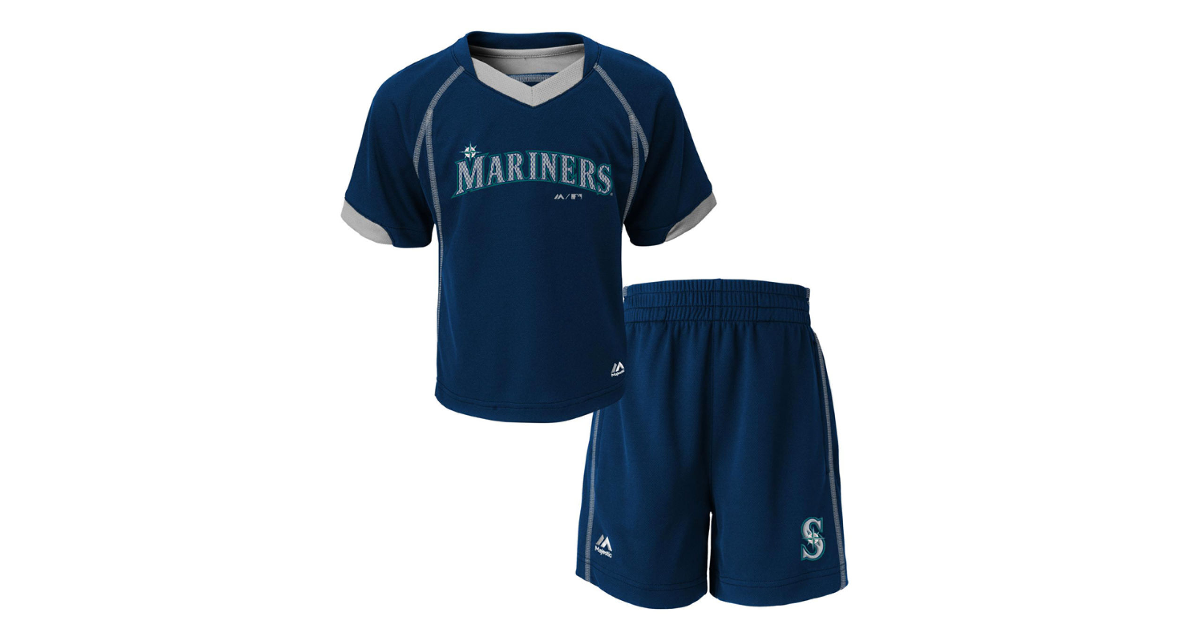 c0c986df5db Majestic Toddlers  Seattle Mariners Lead Hitter Shirt and Shorts Set ...