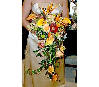 Cascade bridal bouquet with roses, calla lilies, and bird of paradise.