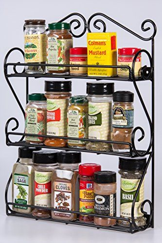 Deluxe Wallmount Spice Rack Organizer For Vitamins Nail Polish Crafts Handcrafted Black Iron Scrolls By Wall Mounted Spice Rack Spice Rack Organiser Spice Rack