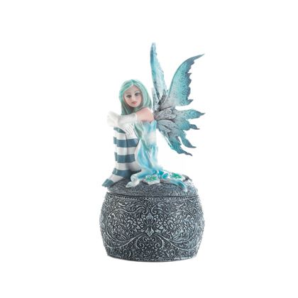 """This icy blue fairy is ready to keep your keepsakes hidden. She has blue wings, blue hair, and blue striped socks, and shes sitting on the lid of an ornately decorated polyresin keepsake box. Weight 0.8 pounds Dimensions 3.38"""" x 4.5"""" x 6.5"""""""