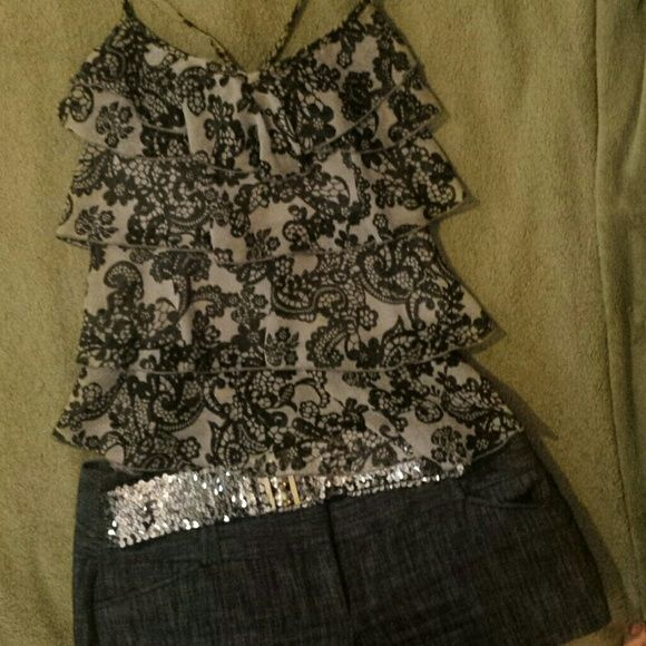Charlotte Russe top 100% polyslester Black lacy print over grey Charlotte Russe Tops Tank Tops