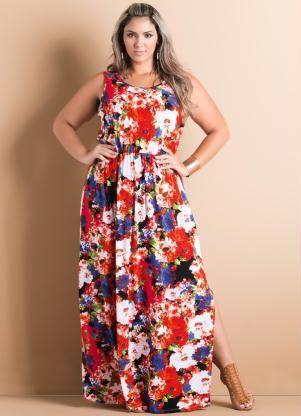 01e17f140 Vestido Longo com Fendas Floral Plus Size - Posthaus | Vestidos in ...