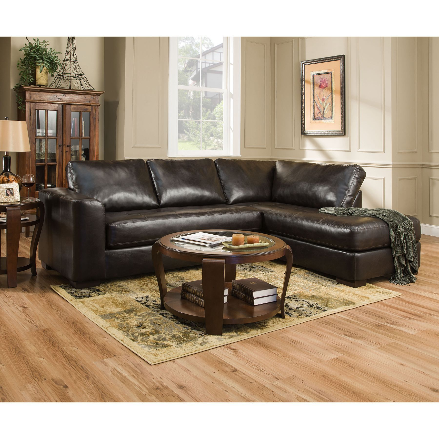 Simmons Upholstery Lucky Espresso Sectional and Matching Ottoman (4558-Lucky Brown Sectional-Ottoman) (Bonded Leather)  sc 1 st  Pinterest : simmons bonded leather sectional - Sectionals, Sofas & Couches