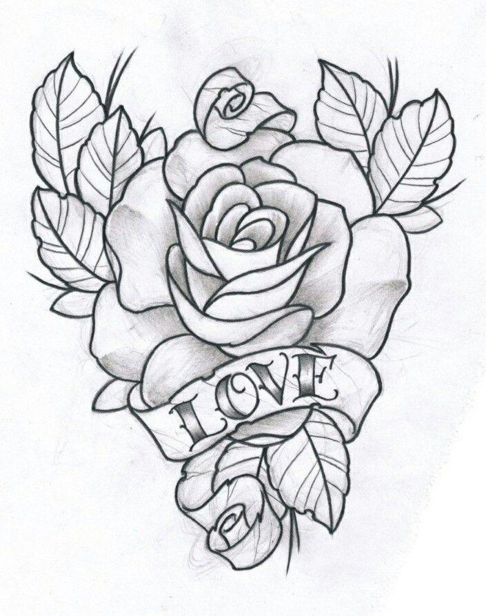 L O V E Rose drawing tattoo