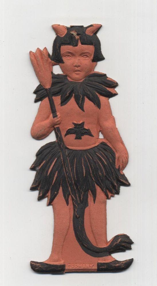 Rare 1920's Die Cut Halloween Decoration Germany Little Girl Devil Demon Antique