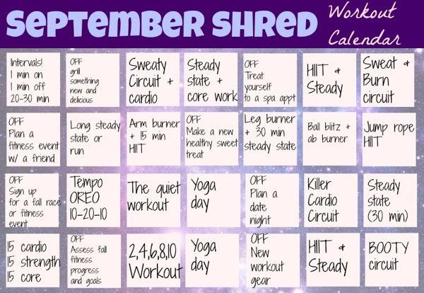September Shred Workout Calendar (The Fitnessista) | Workout ...