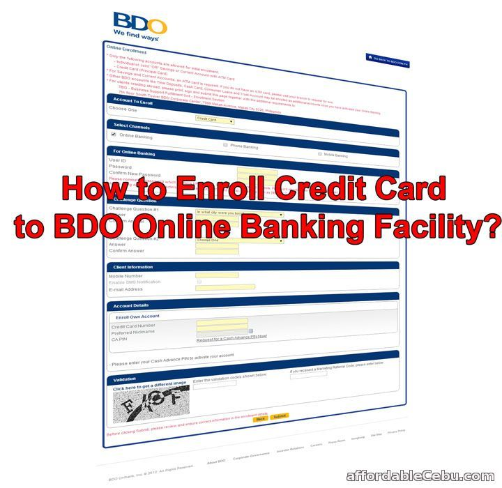 How To Enroll Bdo Credit Card To Online Banking Online Banking Credit Card Banking