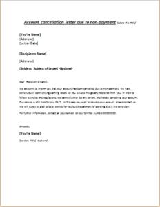 Account Cancellation Letter Due To Non Payment Download Free At