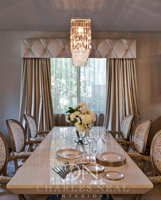 Dining Room Window Valances: Elegant Dining Room - Charles Neal Interiors -
