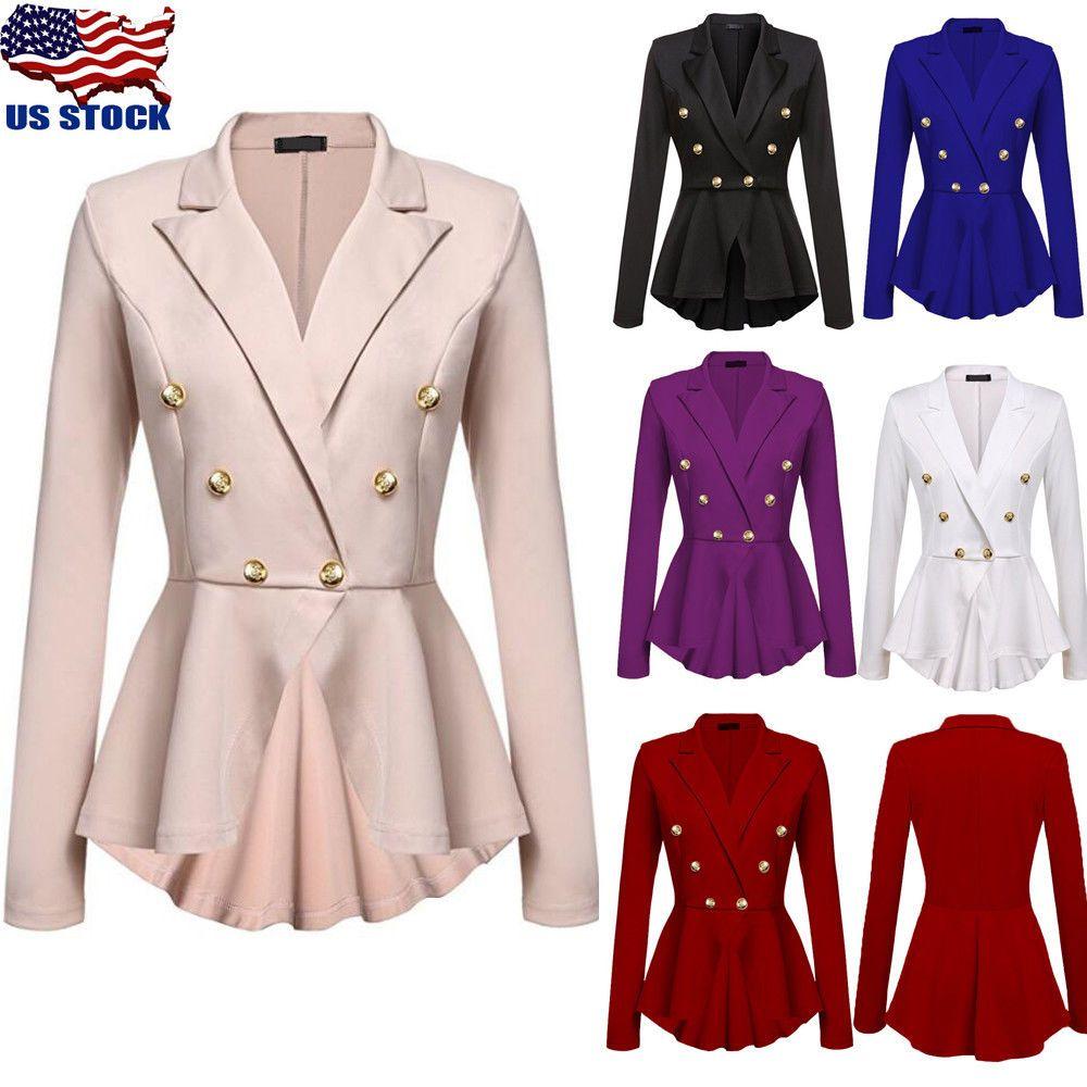 Women OL Work Blazer Suit Ladies Long Sleeve Slim Casual Jacket Coat Outwear Top