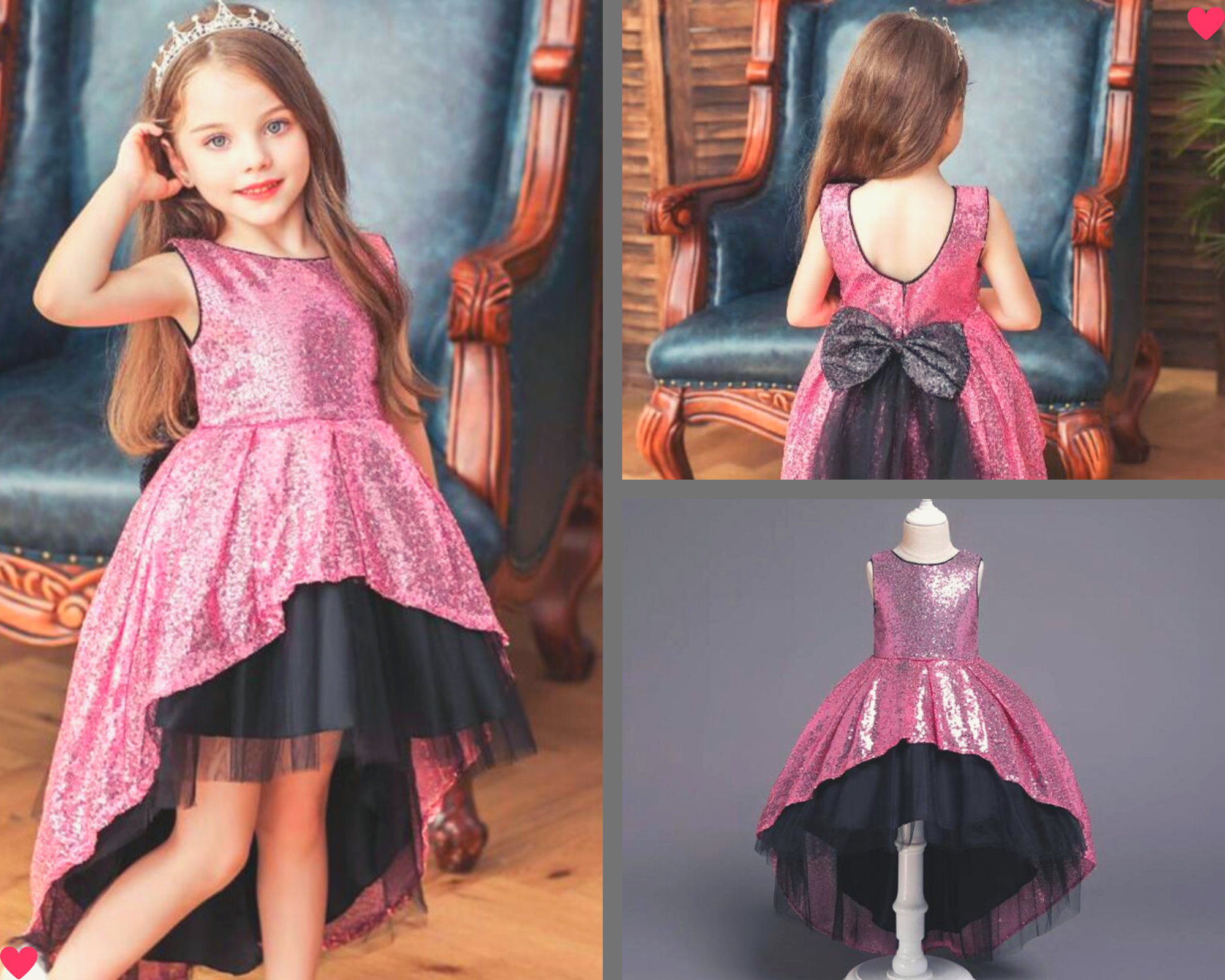 Ins Kids Girls Bowknot Lace Dress long sleeve Princess Party Dresses for 2-7Y
