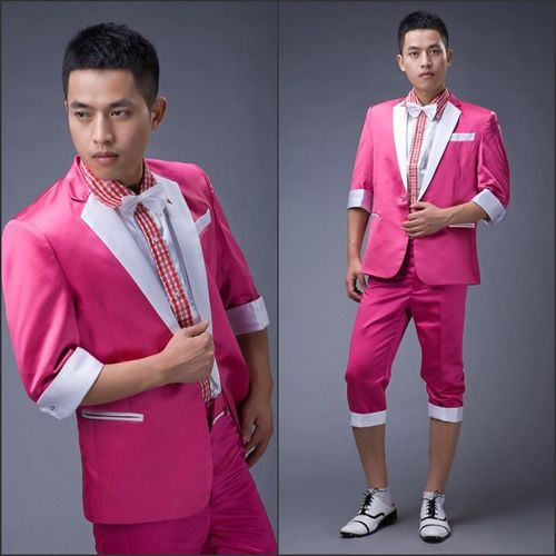 Men Hot Pink Cropped Sleeve Pants Casual Dress Summer Prom Suit