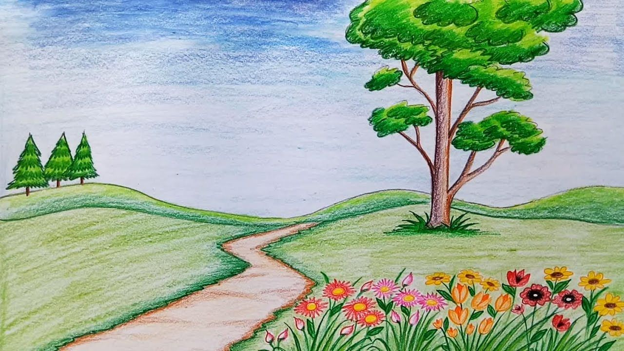 How To Draw Nature Scenery Step By Step Easy To Draw Nature Scenes How To Draw Scenery Of Mountain Step Drawing Scenery Landscape Drawings Easy Nature Drawings How to draw a house with garden and pool scene. how to draw nature scenery step by step