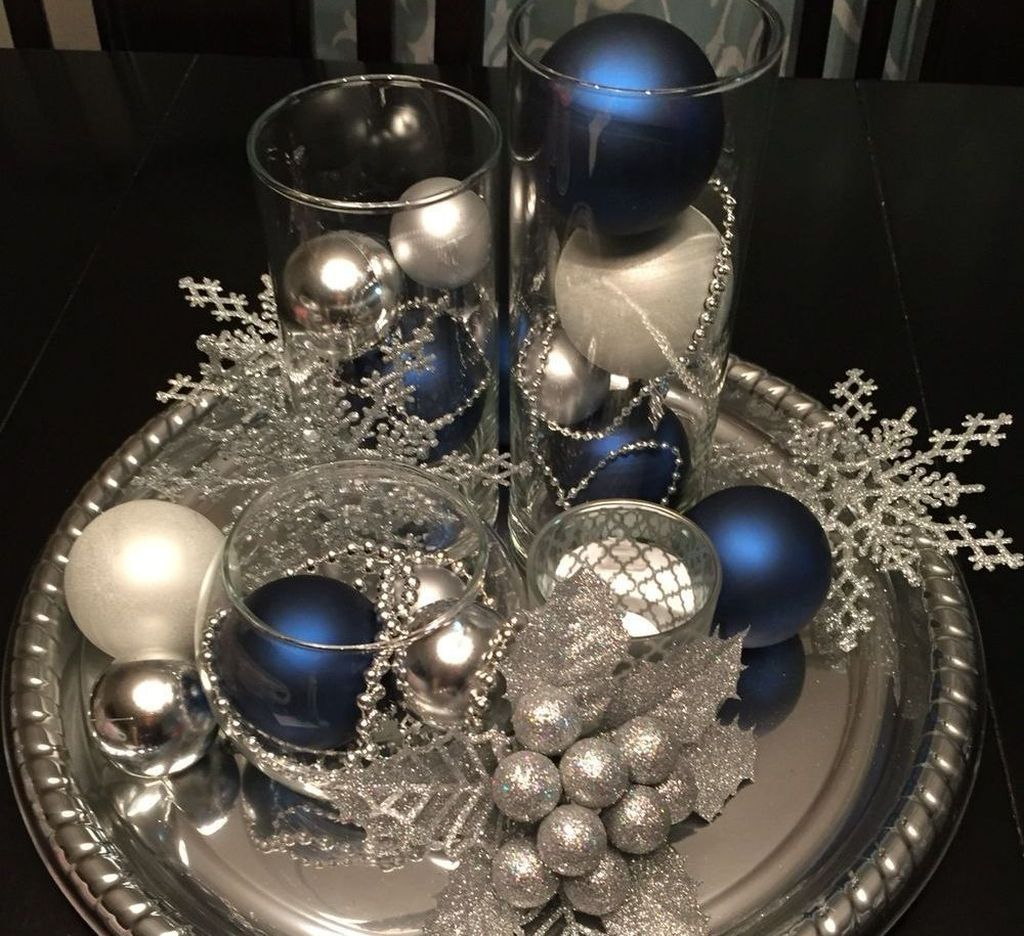 Cool 46 Elegant Blue White Christmas Decor Ideas Christmas Decorations Centerpiece Christmas Table Decorations Christmas Table Centerpieces