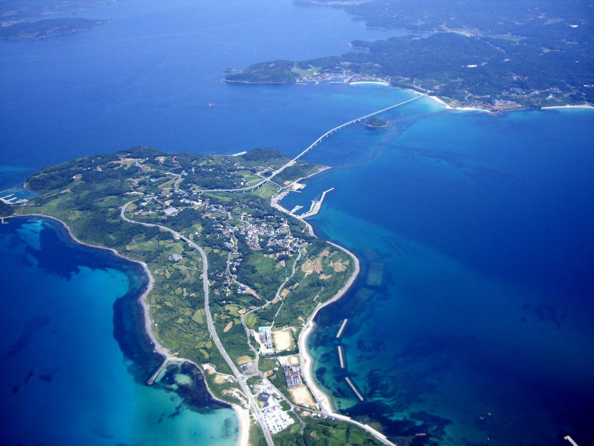 Tsunoshima Bridge, Japan - in foreground, Tsunoshima Island in Sea of Japan; in upper-right corner, Honshu Island