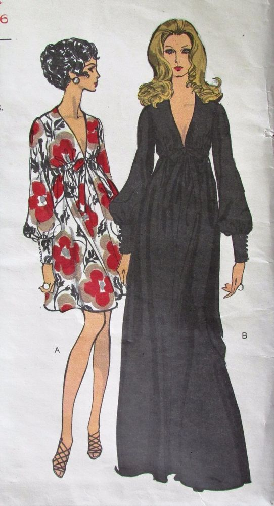 Vtg 70s VOGUE Sewing Pattern #7630 PUFFY Sleeve V-Neck Boho Party ...