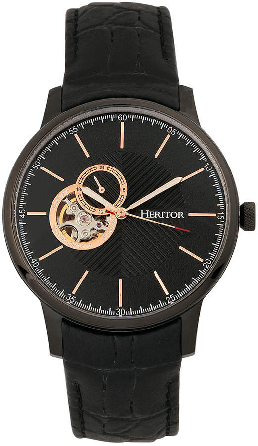 de90591bf Heritor Automatic Men's Landon Watch   Products   Black leather ...
