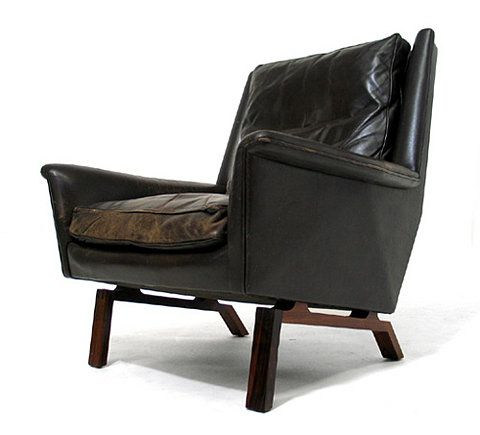 The Mid-Century Modernist: Leather Easy Chair by Wikkels for Willadsen
