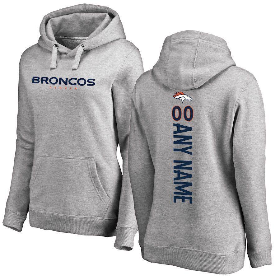 e31fd70ac11 Women s Denver Broncos NFL Pro Line Ash Personalized Backer Pullover Hoodie   NFLseason