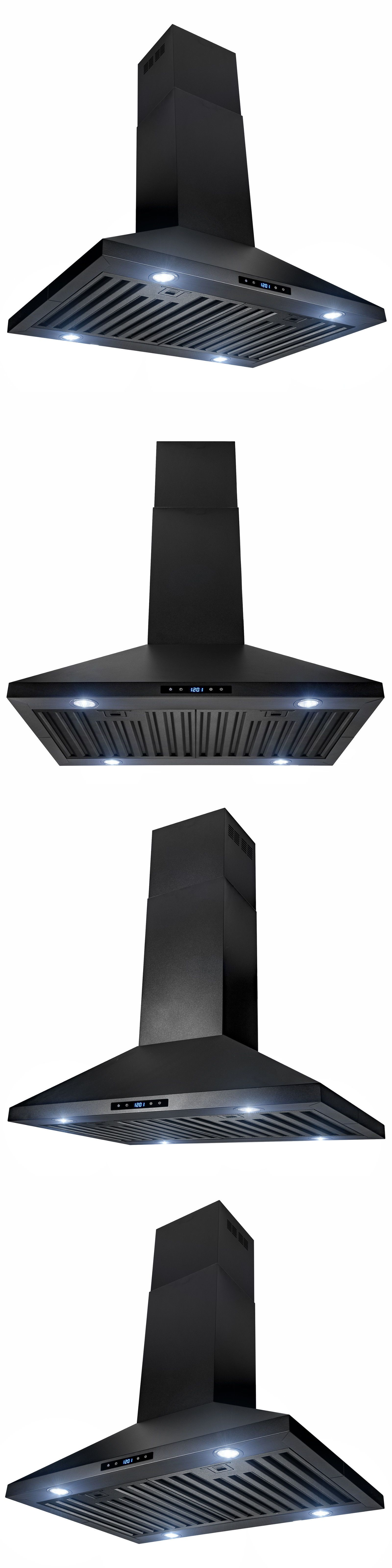 30 Island Mount Black Painted Finish Stainless Steel Touch Panel Range Hood Kitchen Range Hood Mount Black Range Hood