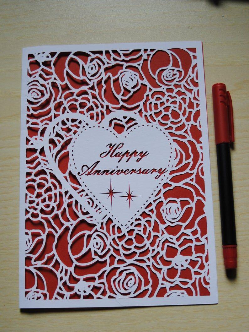 Happy Anniversary Happy Birthday Greeting Card Blank Svg Etsy In 2021 Anniversary Cards Handmade Happy Anniversary Cards Anniversary Greeting Cards