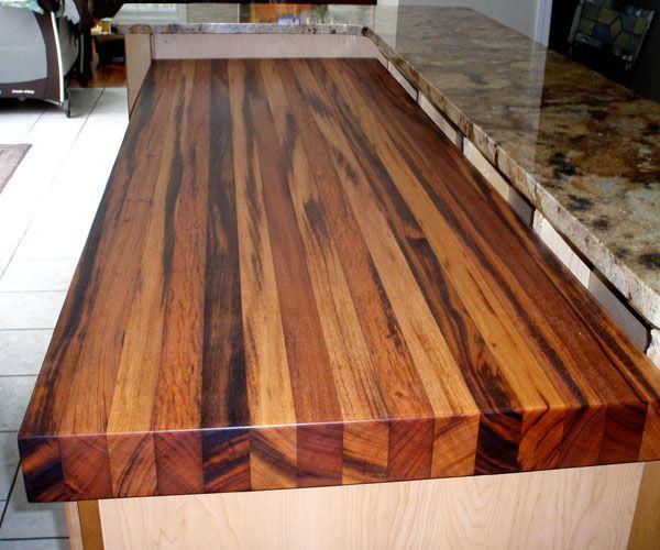 3 Thick Tigerwood Edge Grain Countertop Natural Color