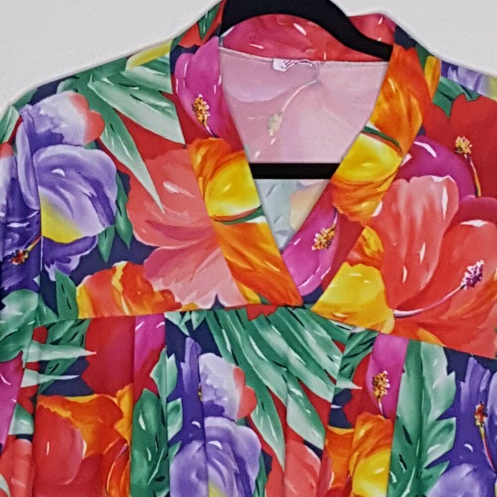 Xxl Hawaiian Floral Print Muu Muu Patio Dress Caftan Pocket Pull