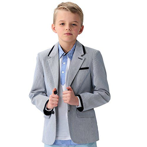 Boys Plaid Linen Blazer a.x.n.y