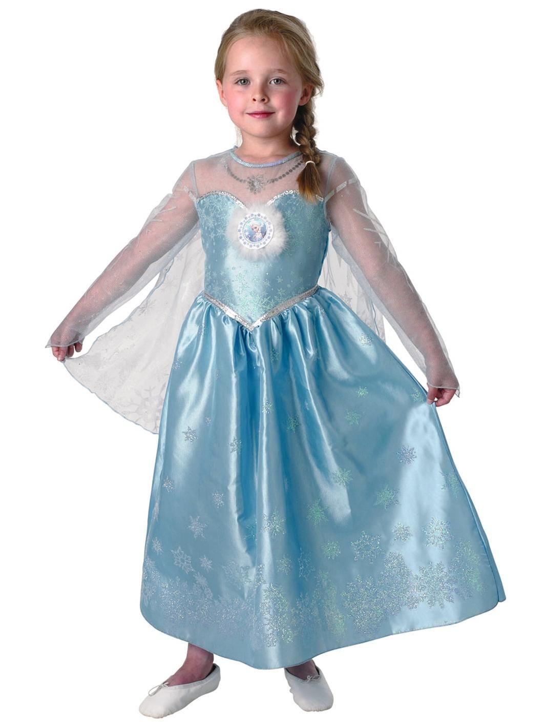 Disney Frozen Girls Deluxe Elsa Snow Queen Kids Fancy Dress Costume ...