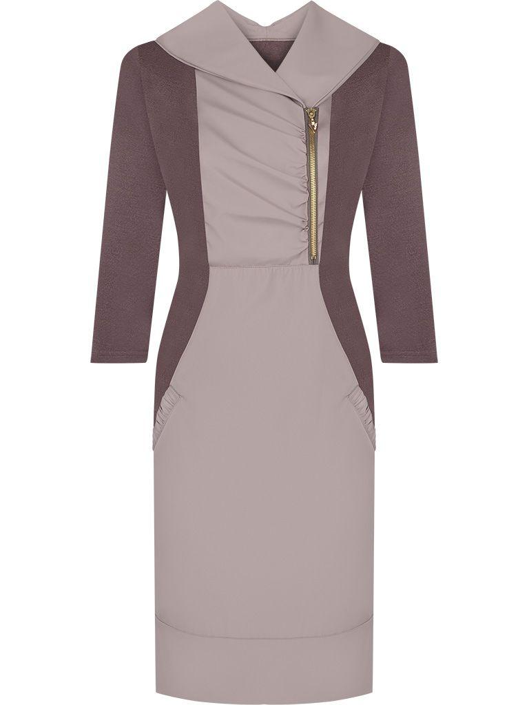 Sukienka z suwakiem Midori brązowa kreacja z łączonych materiałów