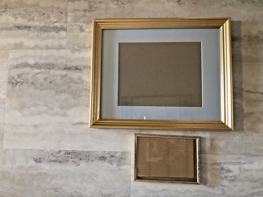 2 Picture Frames Gold Wood Grooved 13x16 Blue Matte 75x95 Gold