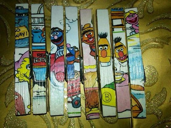 Lynne: I Made It! Decoupaged snack clip clothespins from an old, ripped Sesame St book :)