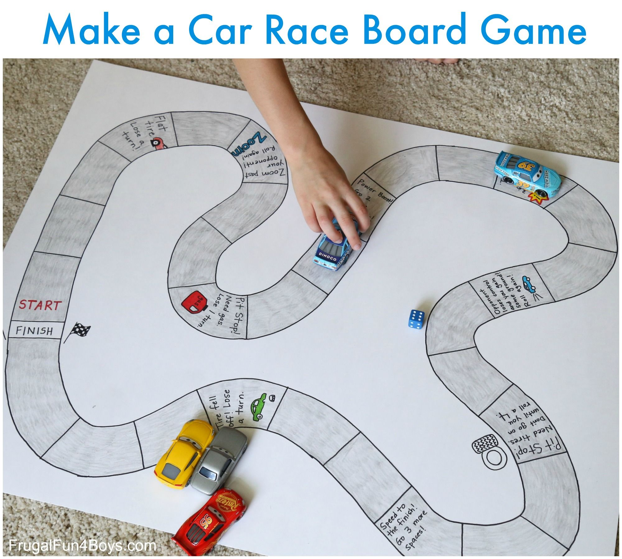 Make Your Own Car Race Board Game | Board games, Homemade board ...