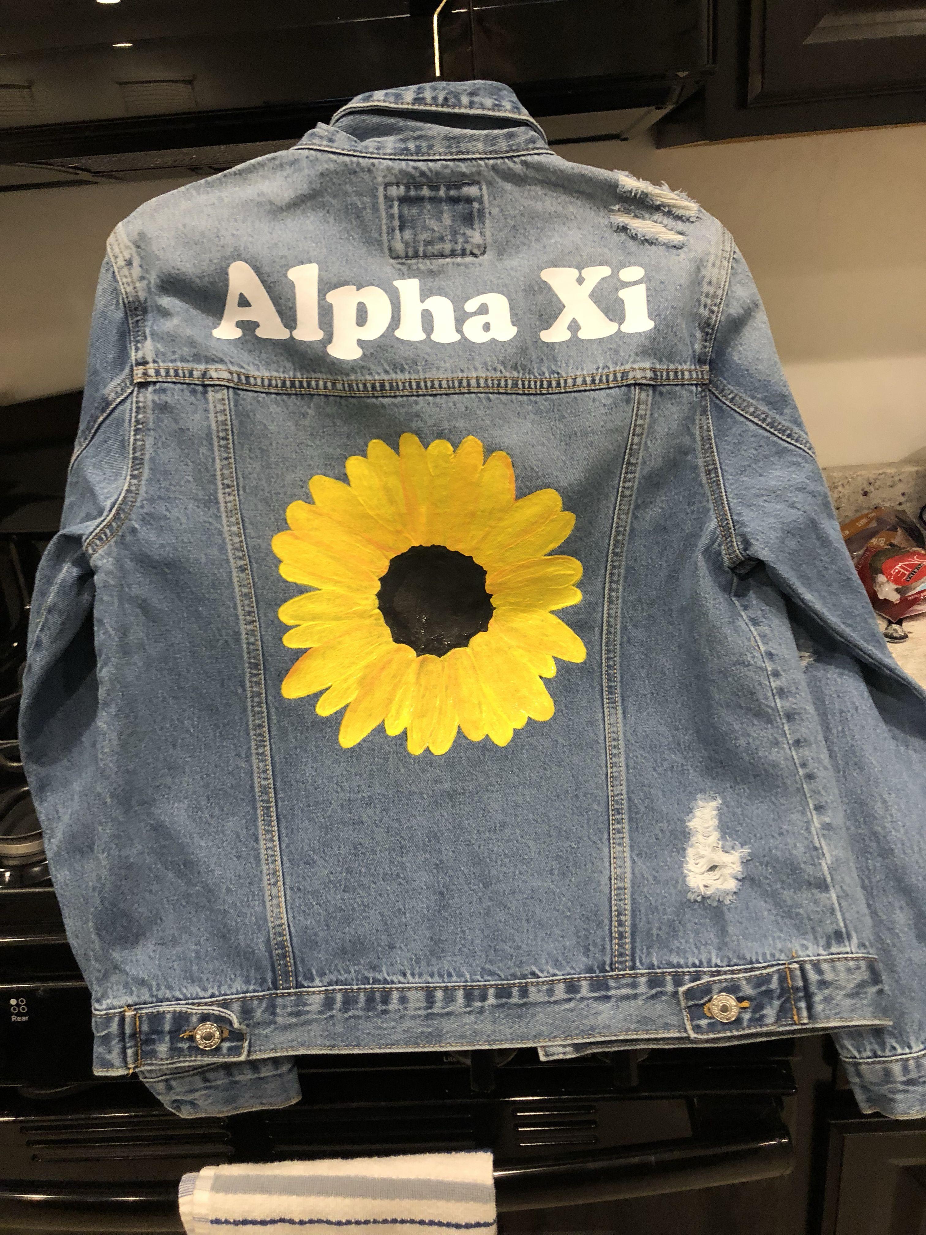 Big Little Jean Jackets Big Little Gifts Alpha Xi Jackets [ 4032 x 3024 Pixel ]