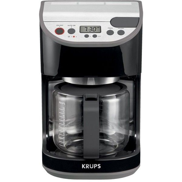 Krups Black Precision Coffee Machine (215 BRL) ❤ liked on Polyvore featuring home, kitchen & dining, small appliances, glass coffee carafe, coffee machines, programmable coffee maker, coffee brewer and programmable coffeemaker