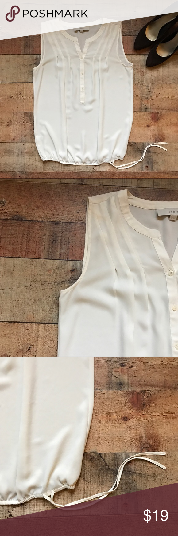 LOFT Pleated Blouse Gently used and lightweight top. Pleats and button down the front. The bottom has a pull tie. Looks great with everything and is fairly see through. Has extra button attached. LOFT Tops Blouses