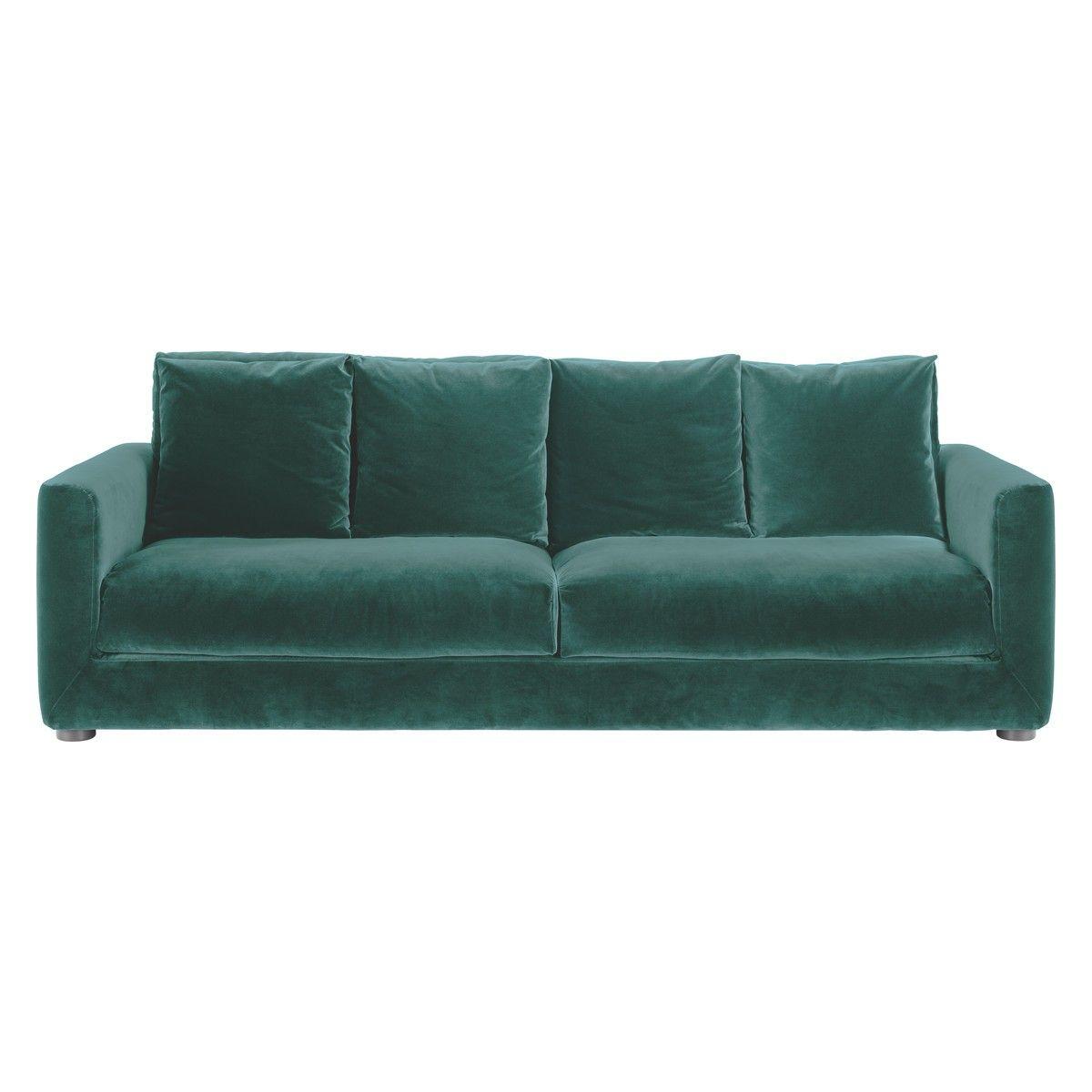 Rupert Emerald Green Velvet 4 Seater Sofa 4 Seater Sofa
