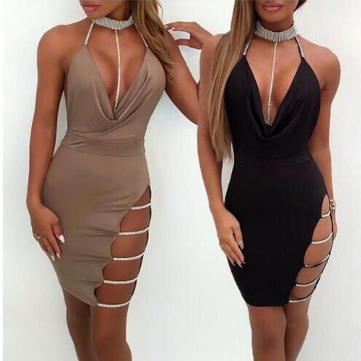 0f61da555e Women Hot Sexy Deep V Neck Halter Backless Choker Slit Sequin Bodycon Mini  Dress  Unbranded  Sexy  Casual