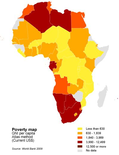 Map Of Africa Showing The Awful Poverty Going On